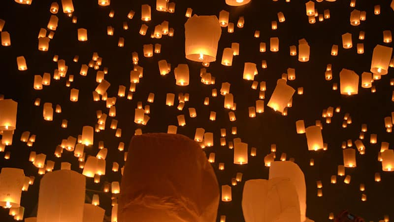 Loy Khatong floating lanterns, Chiang Mai