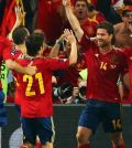 Foto esultanza giocatori Spagna EURO 2012