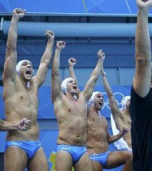 Foto della squadra maschile di Pallanuoto Italia Settebello in finale Olimpiadi 2012