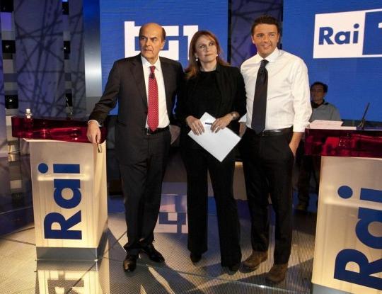Bersani e Renzi con Monica Maggioni