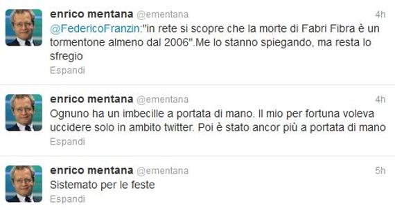 Enrico Mentana, scherzo su Twitter