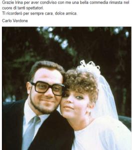 Foto post FB Verdone su Magda