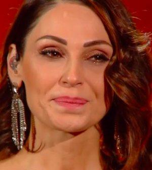 foto Anna Tatangelo in lacrime a Sanremo 2019