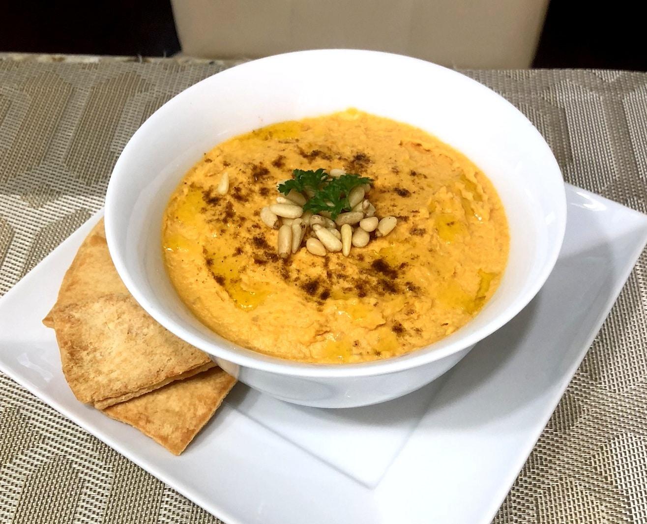 Fusin de sabores internacionales Hummus de batata  La