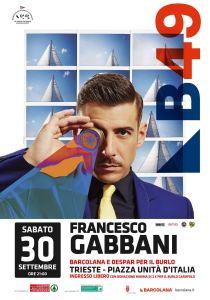 Francesco Gabbani in concerto alla Barcolana per il Burlo Garofolo di Trieste, sabato 30 settembre in Piazza Unità d'Italia