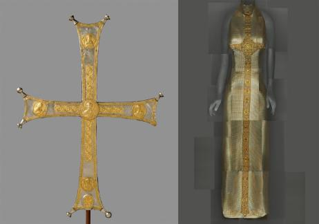 """Heavenly Bodies: Fashion and the Catholic Imagination"""" Left: Processional cross, Byzantine, c. 1000–1050, silver, silver gilt; right: Evening Dress, Gianni Versace for Versace, Fall 1997–98 Photos: The Metropolitan Museum of Art, Rogers Fund, 1993 (1993.163) / ©The Metropolitan Museum of Art; The Metropolitan Museum of Art, Gift of Donatella Versace, 1999 (1999.137.1) / Image courtesy of The Metropolitan Museum of Art, Digital Composite Scan by Katerina Jebb"""