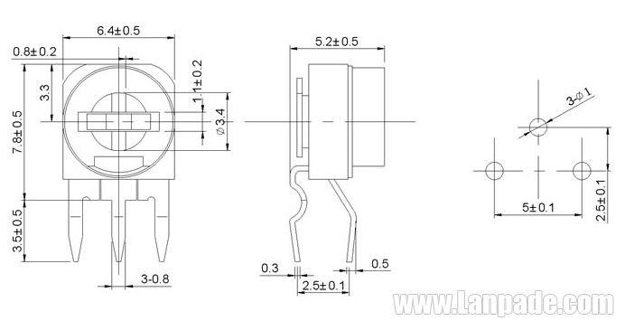 1K Ohm RM063-102 Blue White Potentiometer Single-Turn 6mm