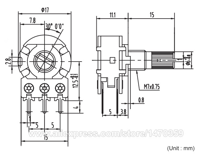Rotary Potentiometer Potenciometro Linear Taper Double
