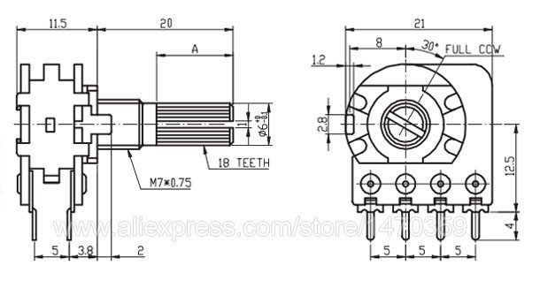 Rotary Volume Potentiometer Pot Linear Taper Duplex Line