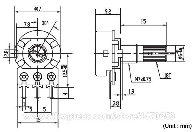WH148 B5K 5K Ohm Rotary Potentiometer Variable Resistor