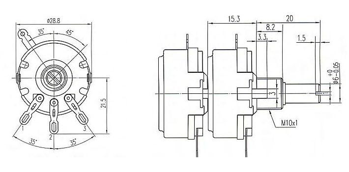 2.2K 2K2 Ohm Dual-Unit WTH118 1A 2W Potenciometro Rotary