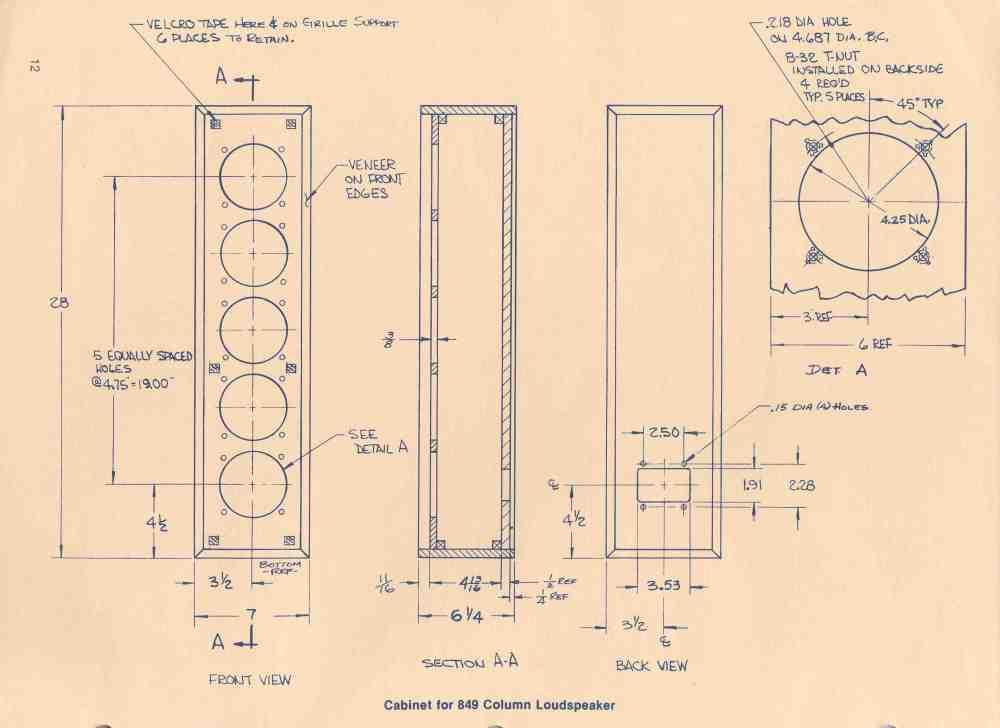 medium resolution of loudspeaker schematic diagram and cabinet design plan home speaker wiring diagram altec lansing cabinet for 849