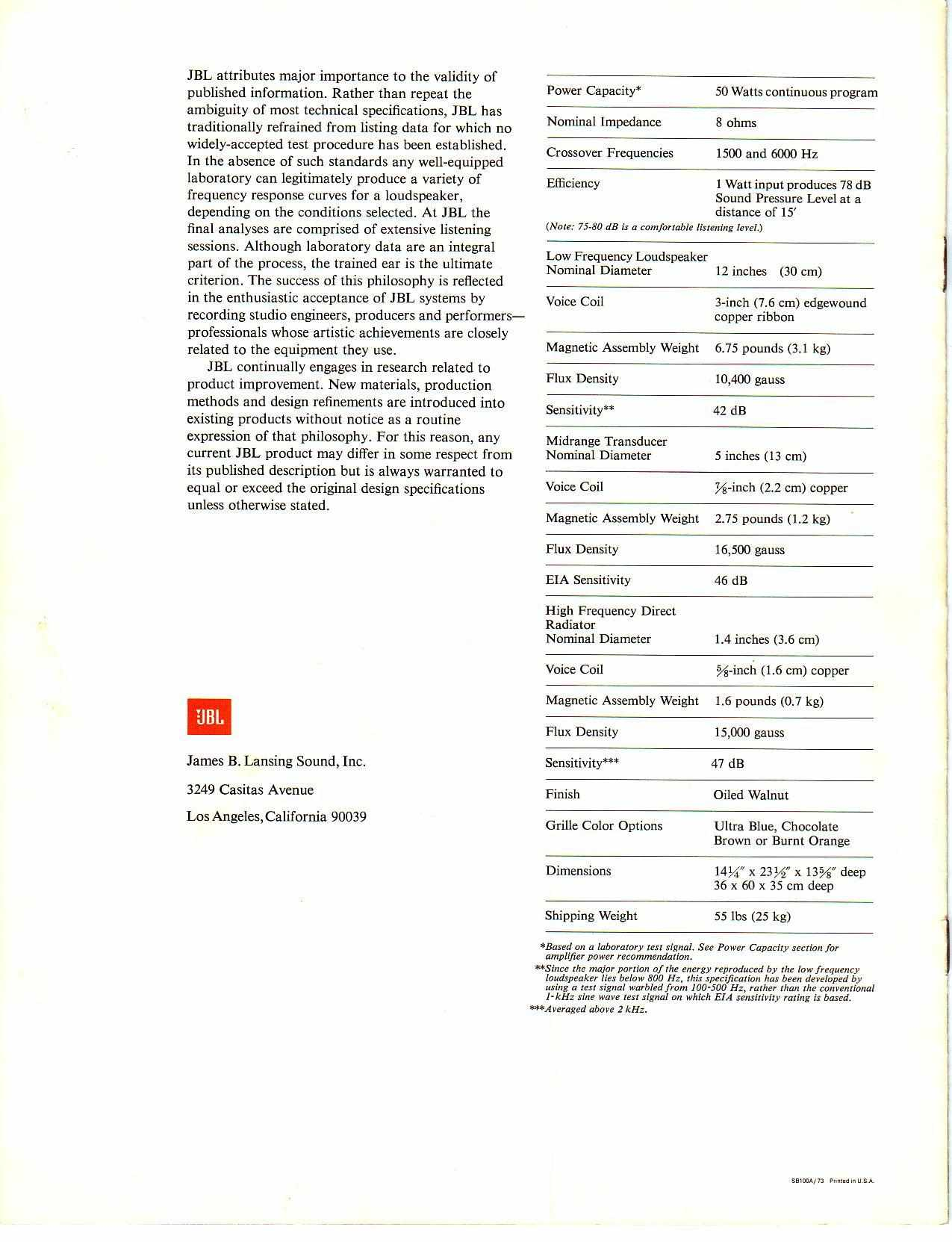 hight resolution of jbl l100 manual