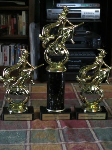 Trophies for the league costume contest.