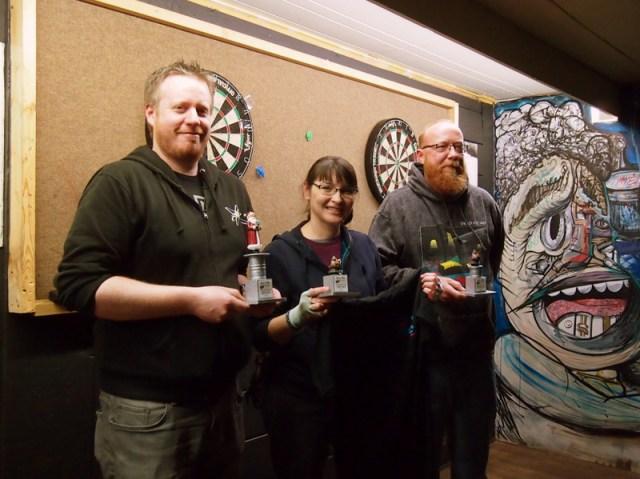 Silver Balls winners Mike S., Melinda, and Derik.