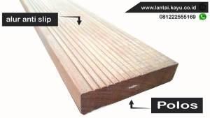 anti slip pada Decking kayu Ulin