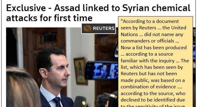 (FAKE). Esclusivo di Reuters: il legame di Assad con le armi chimiche