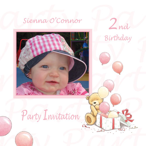 card b2g1 girl birthday invitation