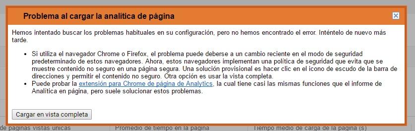 Error analitica de pagina Analytics