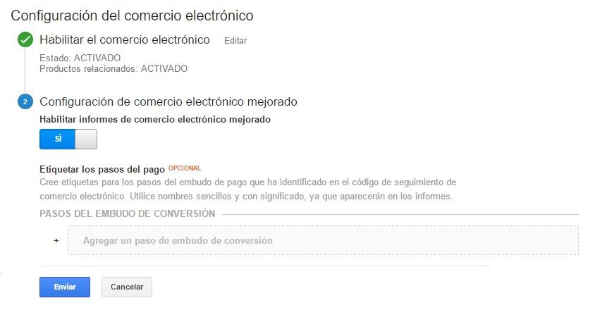 Habilitar comercio electrónico mejorado en Google Analytics