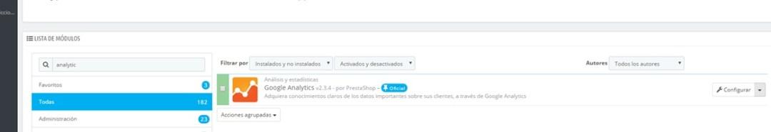Modulo Google Analytics para Prestashop