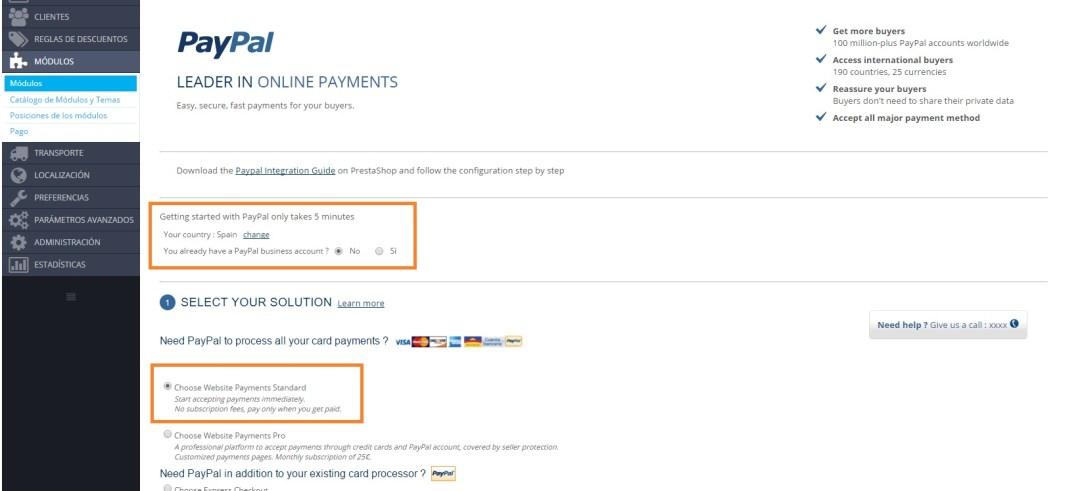 Tipos soluciones pago Paypal