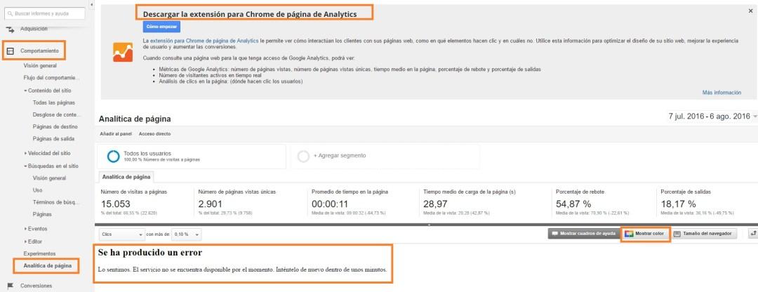 Zonas Calientes de una web en Analytics