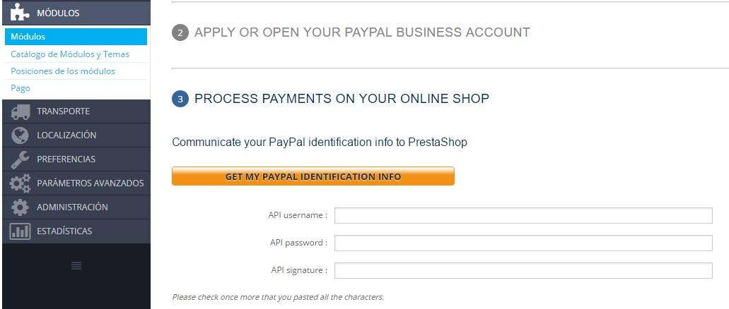 credenciales API paypal