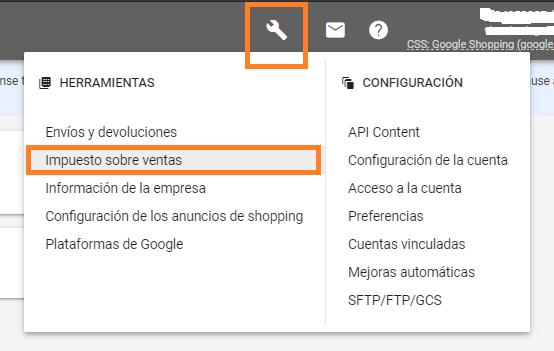 configuracion de impuestos en google merchant center