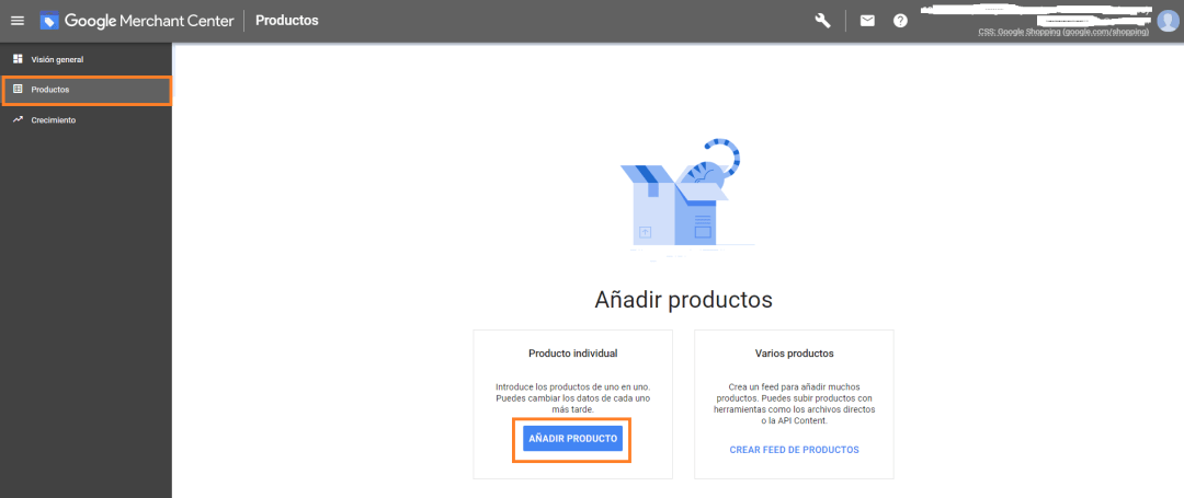 PORTADA PRODUCTOS FEED PANEL CONTROL AGREGAR PRODUCTOS EN GOOGLE MERCHANT CENTER