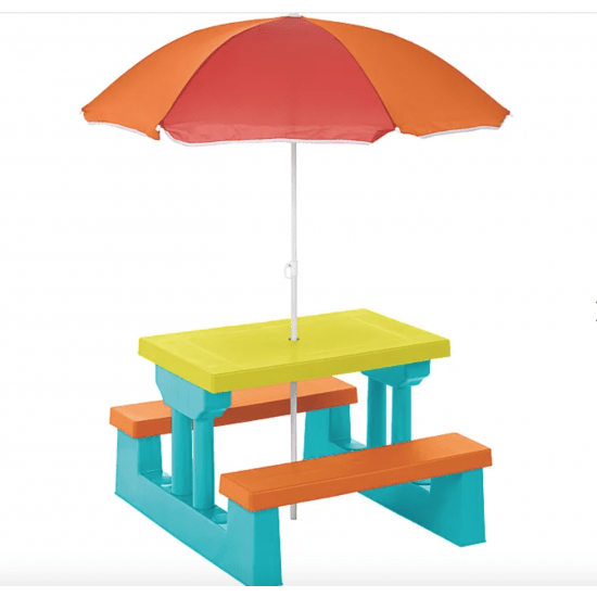 kids garden table and bench set