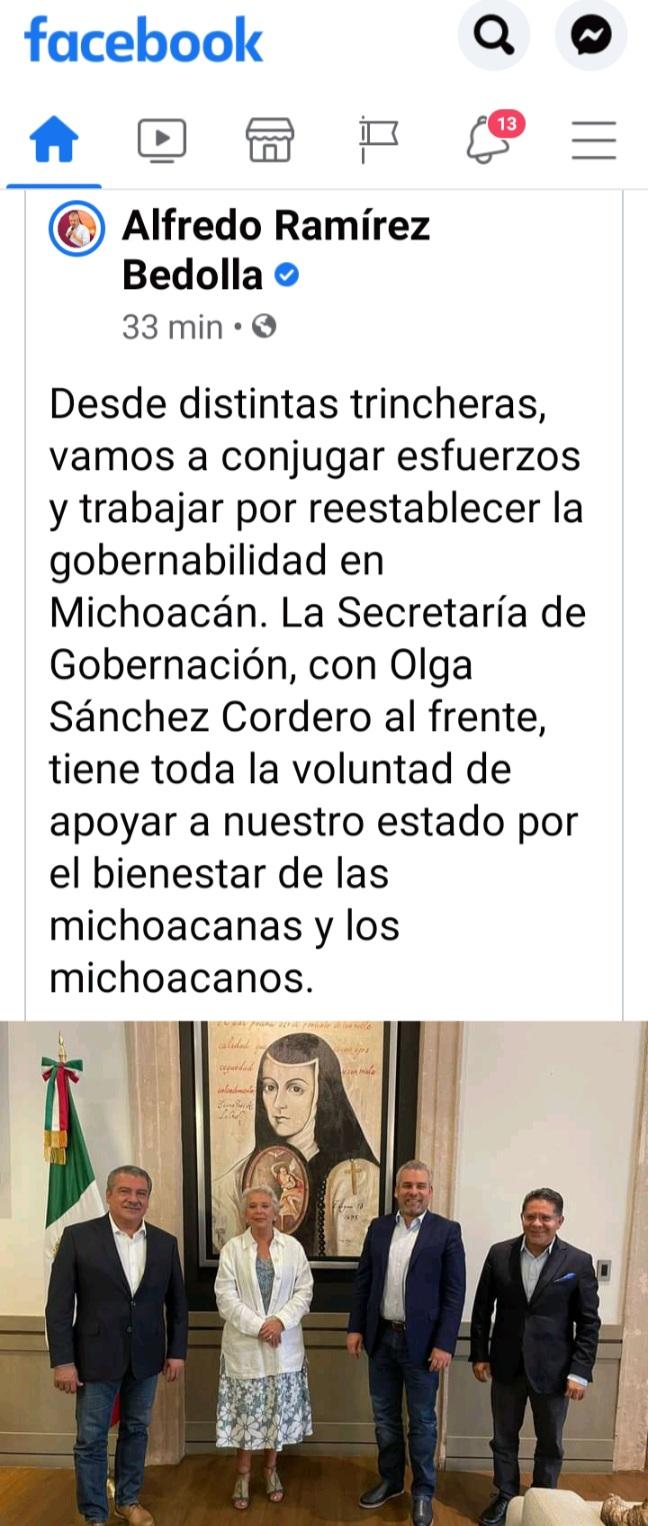 RAMÍREZ BEDOLLA, SE PLANTEA EL RETO DE RESTAURAR LA GOBERNABILIDAD Y SEGURIDAD EN MICHOACÁN.