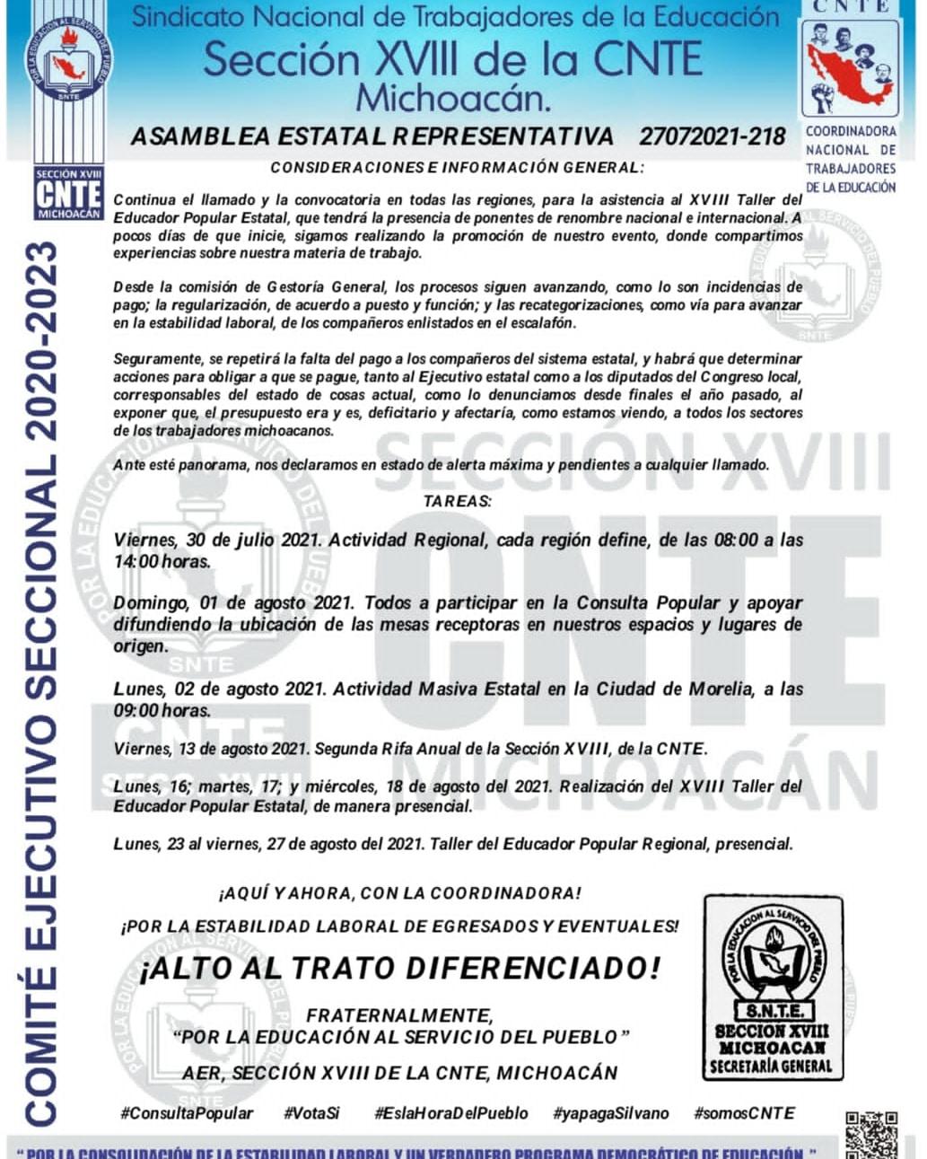 ANTE LA FALTA DE PRONUNCIAMIENTOS POR PARTE DEL ESTADO, RESPECTO AL PAGO, EL GREMIO MAGISTERIAL DE LA COORDINACIÓN REGIONAL APATZINGÁN -CRA-, SE MANTIENE A LA ESPECTATIVA EN SUS ACCIONES.