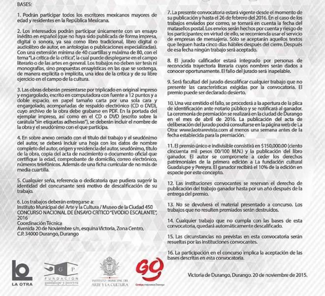 Concurso Nacional de Ensayo Crítico Evodio Escalante 2016