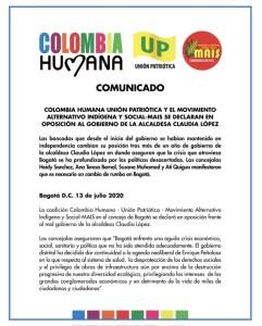 Colombia Humana, MAIS y UP se declaran en oposición a Claudia López