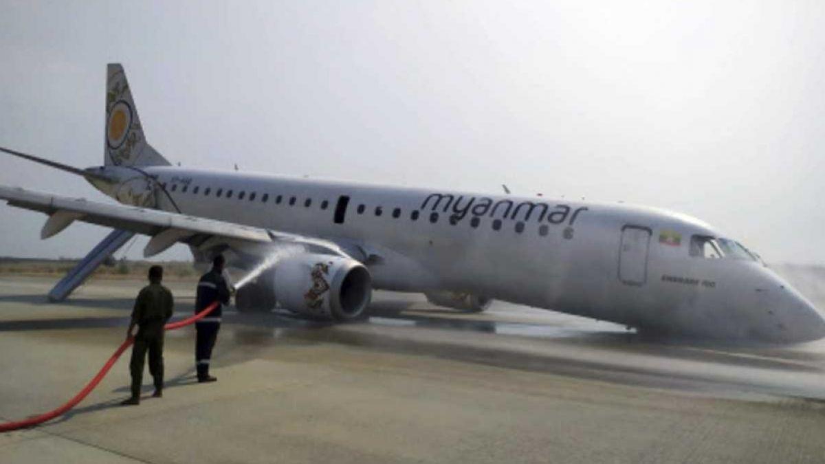 Avión birmano aterriza de emergencia al fallar tren de aterrizaje delantero