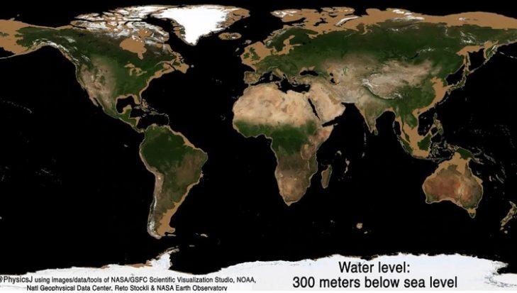 Una animación muestra cómo sería la Tierra sin los océanos