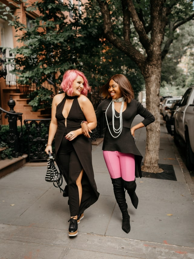 Pure pink perfection! 💖 Their transitional summer to fall outfit makes my heart skip a beat. Thigh high boots, asymmetrical sweater, dramatic necklace and a dash of pink and black are what I need this fall. The perfect autumn look. Getting my bestie on this train! #nyfw #sweater #ootd #outfits #fallstyle