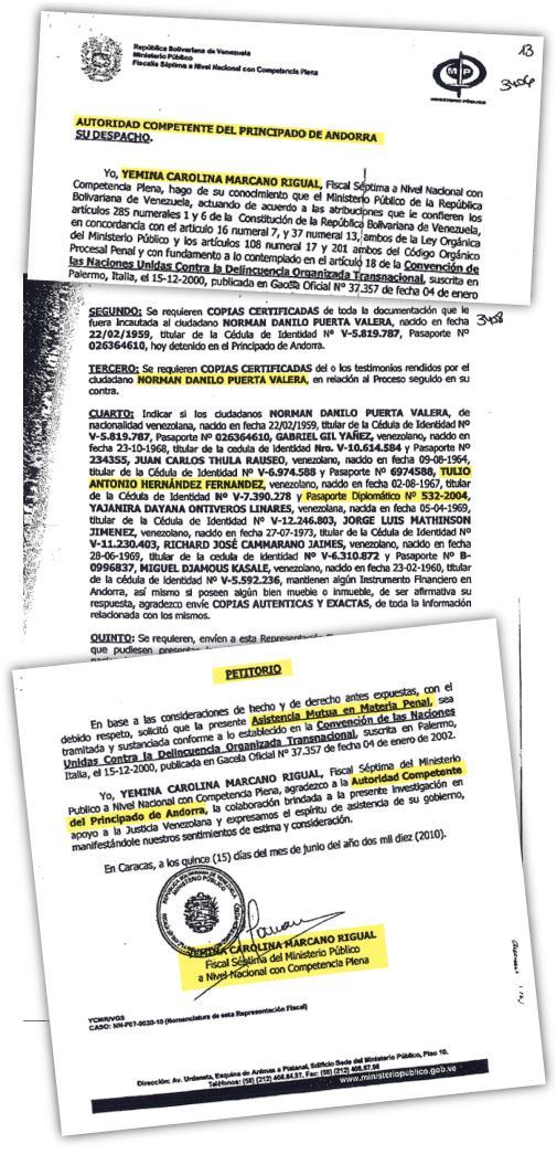 """Carta rogatoria enviada por el Ministerio Público de Venezuela a la Justicia de Andorra en la que solicita asistencia mutua en materia penal y menciona las identidades de los implicados y el pasaporte diplomático del venezolano Tulio Antonio Hernández Fernández, que lo acreditaba como""""asesor"""" del ministro de Economía y Finanzas de ese país"""