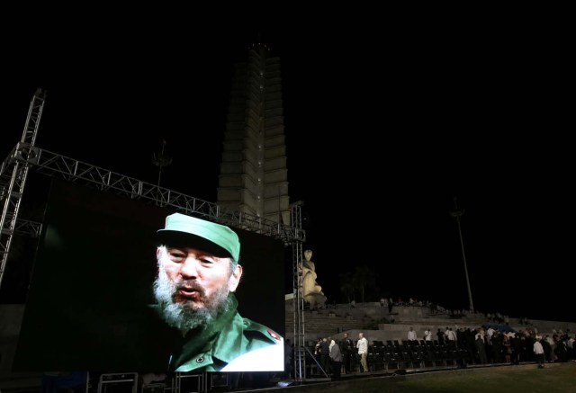 An image of Cuba's late President Fidel Castro is shown on a large screen during a tribute to Castro at Revolution Square in Havana, Cuba, November 29, 2016. REUTERS/Carlos Garcia Rawlins
