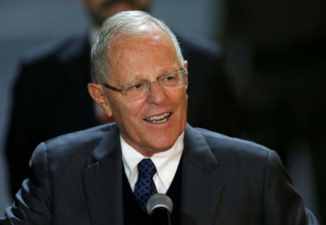 Peru's President Pedro Pablo Kuczynski speaks to the media after his arrival at Mariscal Sucre Airport in Quito, Ecuador May 23, 2017 ahead of Ecuadorean president inauguration. REUTERS/Henry Romero