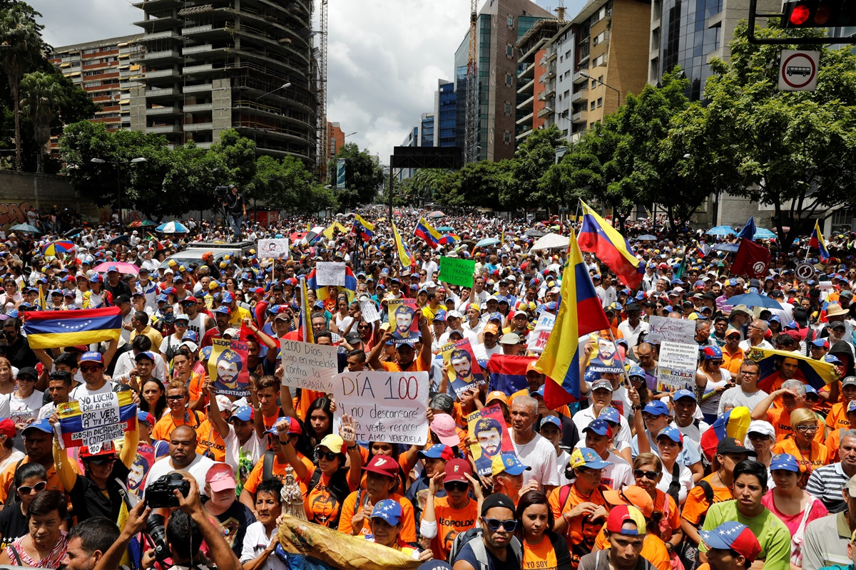 Opposition supporters attend a rally against Venezuelan President Maduro's government in Caracas, Venezuela July 9, 2017. REUTERS/Andres Martinez Casares