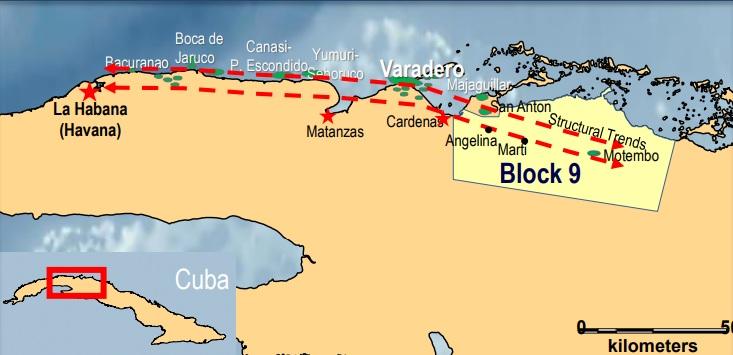 Mapa del Bloque 9 en Cuba / Cortesía Melbana Energy