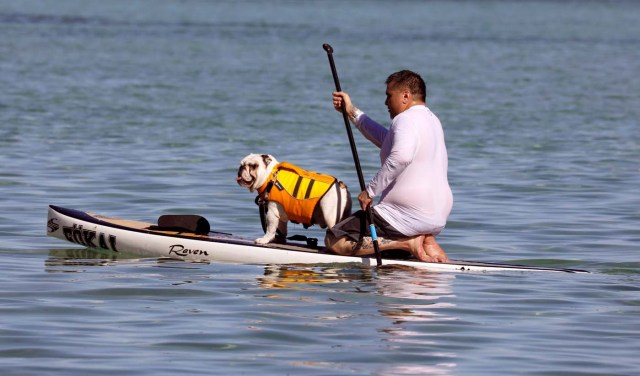 A resident and his dog ride on a kayak along the coast of Tamuning, Guam, a U.S. Pacific Territory, August 12, 2017. REUTERS/Erik De Castro