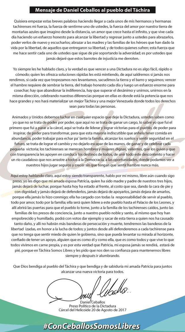 Carta de Daniel Ceballos