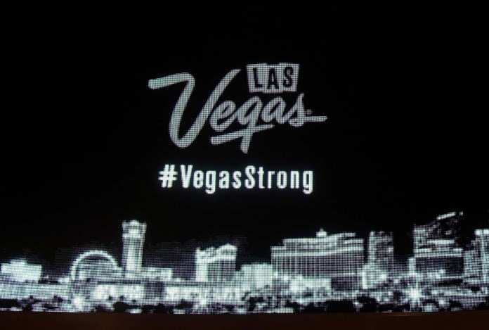 LAS VEGAS, NV - OCTOBER 03: A close-up photo of the marquee at Wynn Las Vegas shows part of a message in response to Sunday night's mass shooting at a music festival on October 3, 2017 in Las Vegas, Nevada. Hotel-casinos all along the Las Vegas Strip replaced their usual flashy marquee advertisements with the same message of condolence as a show of strength in reaction to the violence. Late Sunday night, a lone gunman killed at least 59 people and injured more than 500 after he opened fire on a large crowd at the Route 91 Harvest country music festival. The massacre is one of the deadliest mass shooting events in U.S. history.   Ethan Miller/Getty Images/AFP
