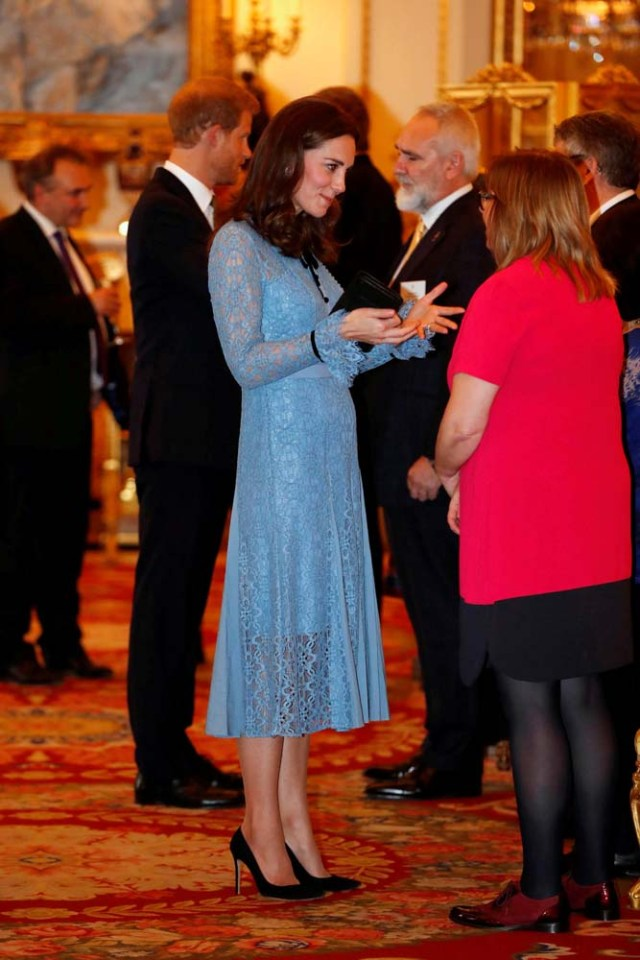 Britain's Prince William, Duke of Cambridge (not pictured), Catherine Duchess of Cambridge and Prince Harry celebrate World Mental Health Day at Buckingham Palace in London, Britain, October 10, 2017. REUTERS/ Heathcliff O'Malley/Pool