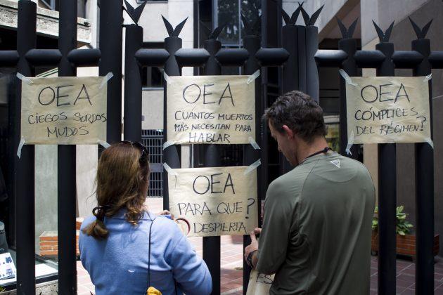 Manifestantes piden a la OEA que intervenga en Venezuela (Foto EFE)