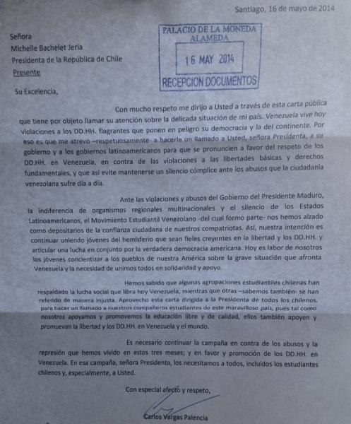 CARTA RECIBIDA PALACIO MONEDA