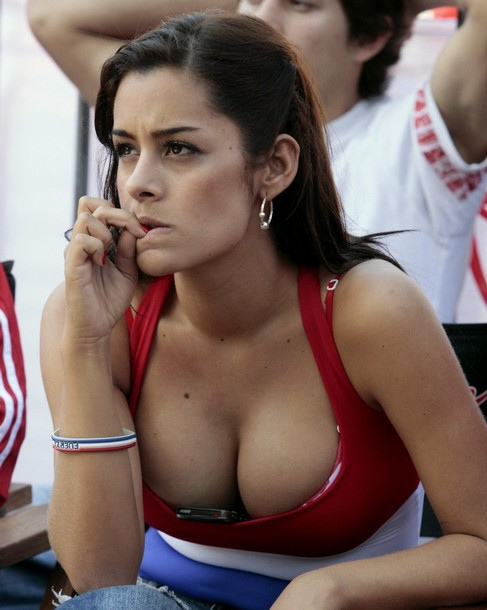 A Paraguayan fan watches her national soccer team play New Zealand during the 2010 World Cup in South Africa, in downtown Asuncion
